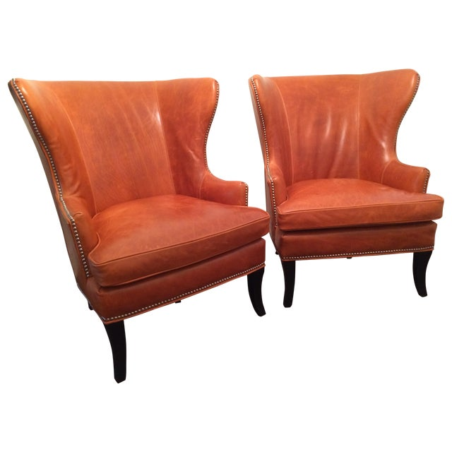 Williams Sonoma Chelsea Leather Wing Chairs - Pair For Sale