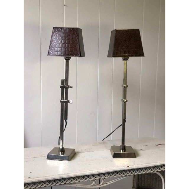 Art Deco Pair of Adjustable Height Chrome Lamps With Leather Shades For Sale - Image 3 of 13