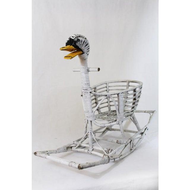Mid Century Rattan Swan Rocker For Sale - Image 11 of 11