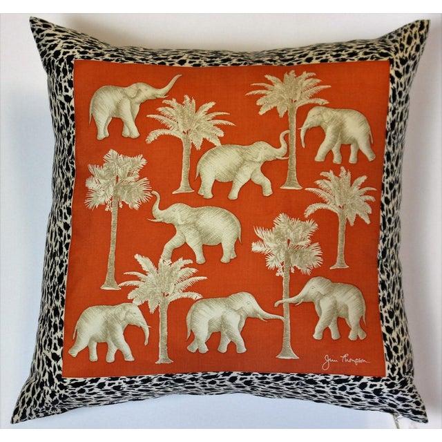 """Jim Thompson Thai Elephant Orange Pillow in Excellent Condition. Dimensions: 15""""L x 14""""H"""