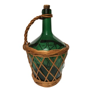 20th Century Country French Viresa Green Blown Glass Wicker Demijohn Bottle For Sale