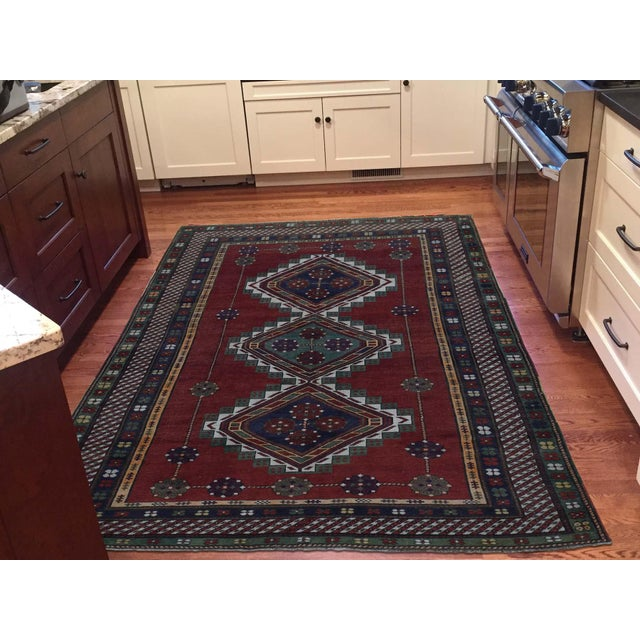 Traditional Antique Caucasian Kazak Hand Knotted Rug- 5′9″ × 8′5″ For Sale - Image 3 of 13