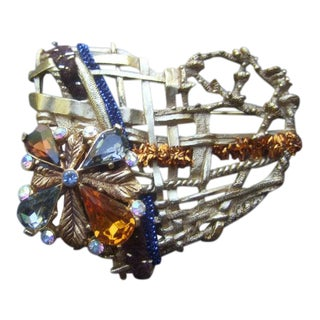 Christian Lacroix Paris Gilt Metal Crystal Heart Brooch For Sale
