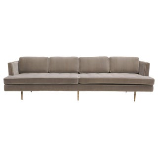 Dunbar Sofa, Brass Legs by Edward Wiormley Real Mohair Fabric, Excellent For Sale