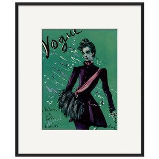 """Vogue Paris, November 1936"" Original Vintage Fashion Magazine Cover Framed Under Glass For Sale"