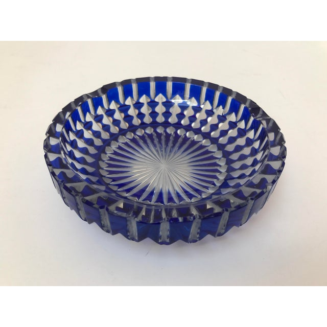 Mid-Century Modern Bohemian Cobalt Blue Lead Crystal Glass Ashtray For Sale - Image 3 of 7