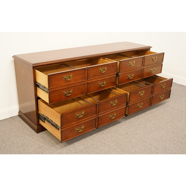 """Cherry Wood Sligh Furniture Solid Cherry Chippendale 74"""" Double File Cabinet Credenza For Sale - Image 7 of 13"""