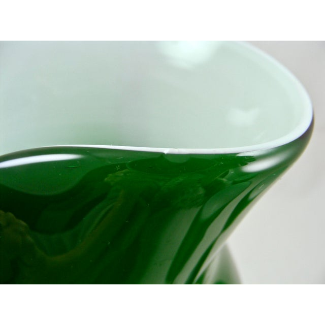 Green Carlo Moretti Mid Century Green and White Cased Pedestal Pitcher and 5 Wine Glasses For Sale - Image 8 of 9