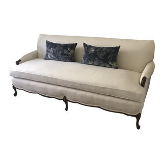 Vintage French Louis Style Oyster Linen Sofa For Sale