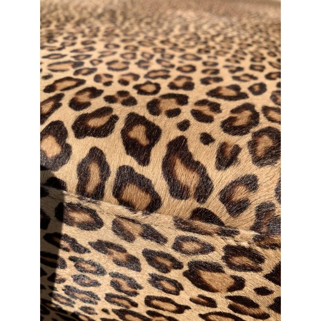 Brown Vintage French Leopard Leather Ottoman Coffee Table, 1910s For Sale - Image 8 of 13