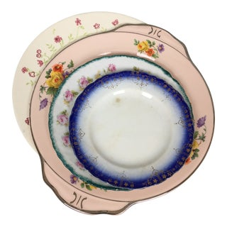 Shabby Chic Mismatched Floral China Plates- Set of 4 For Sale