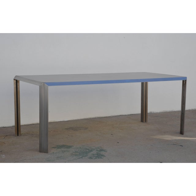 Rare Brushed Stainless Steel and Laminate Desk by Bernard Marange for Tfm For Sale In Los Angeles - Image 6 of 7