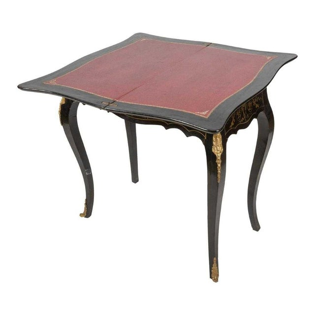 Hollywood Regency 20th Century Hollywood Regency French Boulle Style Brass Game Table Console For Sale - Image 3 of 11