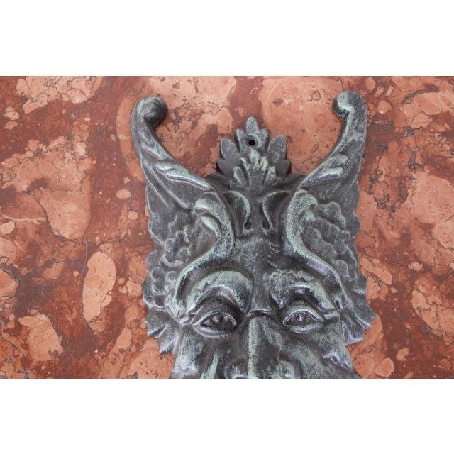 Metal Cast Iron Green Man Door Knocker For Sale - Image 7 of 9