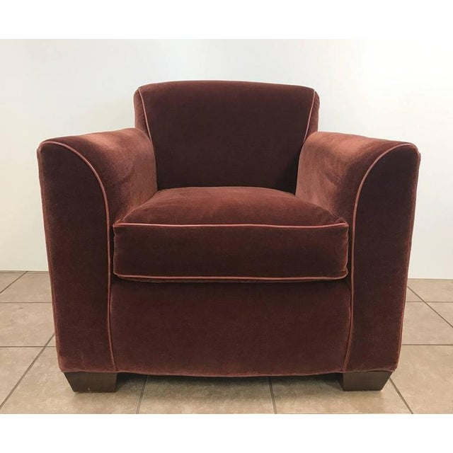 1980s Art Deco Mohair Lounge Chair With Leather Trim For Sale - Image 5 of 5