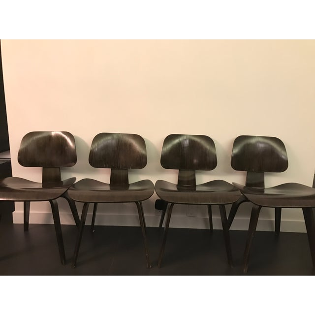 Eames Molded Plywood Dcw Dining Chairs - Set of 4 - Image 4 of 9