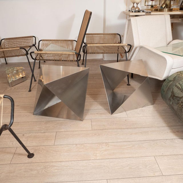 Modular, metal polyhedron side tables by Manfredo Massironi. Sold individually. Designer MANFREDO MASSIRONI Origin: Italy...
