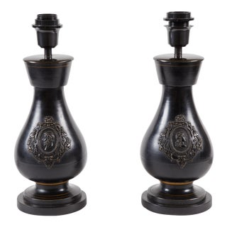 Pair of 19th C. Dark Ceramic Lamps
