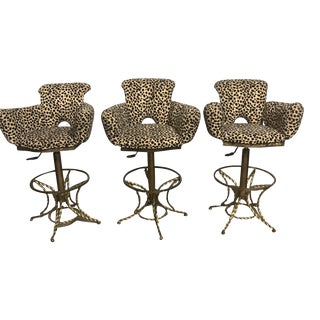 Leopard Print Bar Chairs - Set of 3