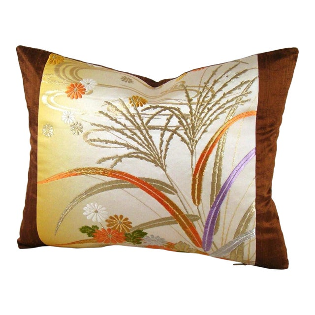 Japanese Obi Yellow Ombre Streamside Floral Lumbar Pillow Cover For Sale