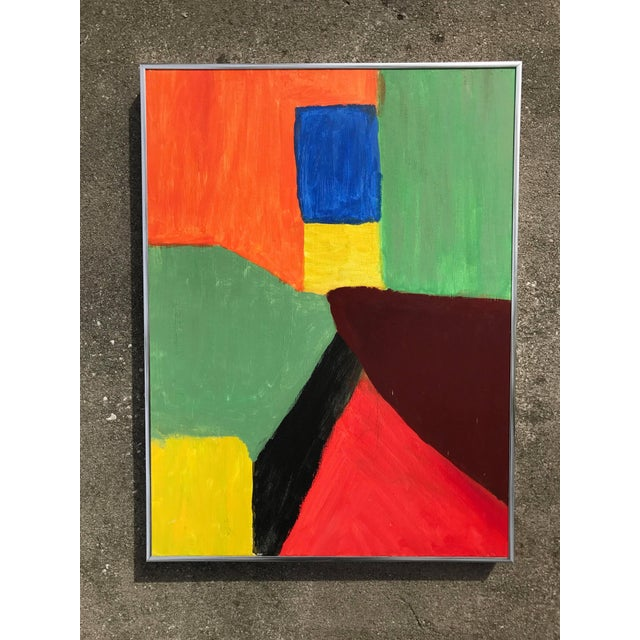 1980s Abstract Pink Green and Orange Painting - Image 4 of 4