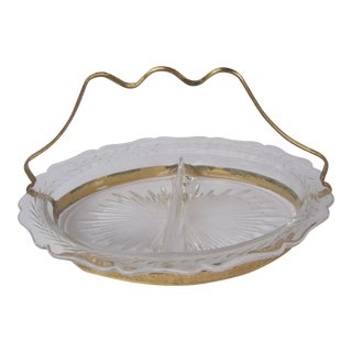 Vintage Glass and Gold Relish Tray For Sale