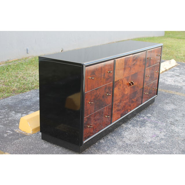 Henredon Art Deco Black Lacquer & Burlwood Buffet by Henredon For Sale - Image 4 of 11