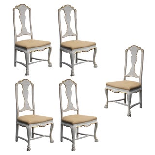 A Shapely Set of 5 Portuguese Rococo Ivory Painted and Parcel-Gilt Side/Dining Chairs; Priced Individually For Sale