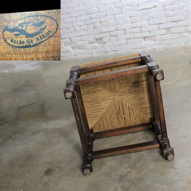Spanish Colonial Style Dining Chairs With Rush Seats Stamped Hecho en Mexico For Sale - Image 10 of 13