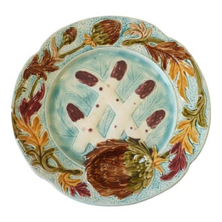 French Faience Asperagus Plate For Sale