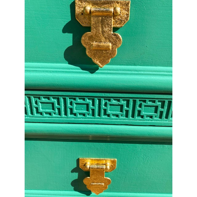 1960's Dixie Shagri La Green and Gold Leaf Hollywood Regency Nightstands- a Pair For Sale - Image 11 of 13