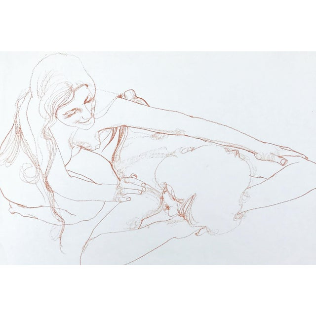 Boho Chic Vintage Bohemian Sanguine Drawing of Nude Couple For Sale - Image 3 of 8