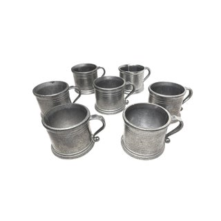1950s Vintage Mid Century Wilton Pewter Mugs, Made in the Usa - Set of 7 For Sale