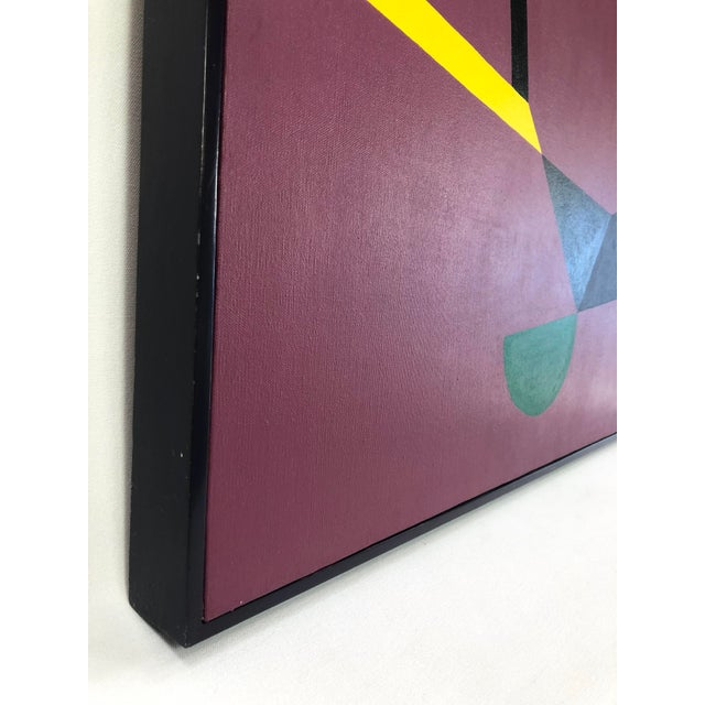 Betty Gold Original Abstract Framed Oil Painting on Canvas, Geometric Forms Against Purple - Signed Betty Gold For Sale - Image 4 of 13