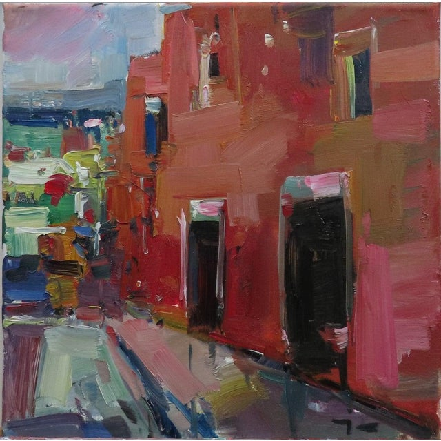 """2010s Jose Trujillo 14"""" Square Oil Painting Red House Village Street New Art For Sale - Image 5 of 5"""
