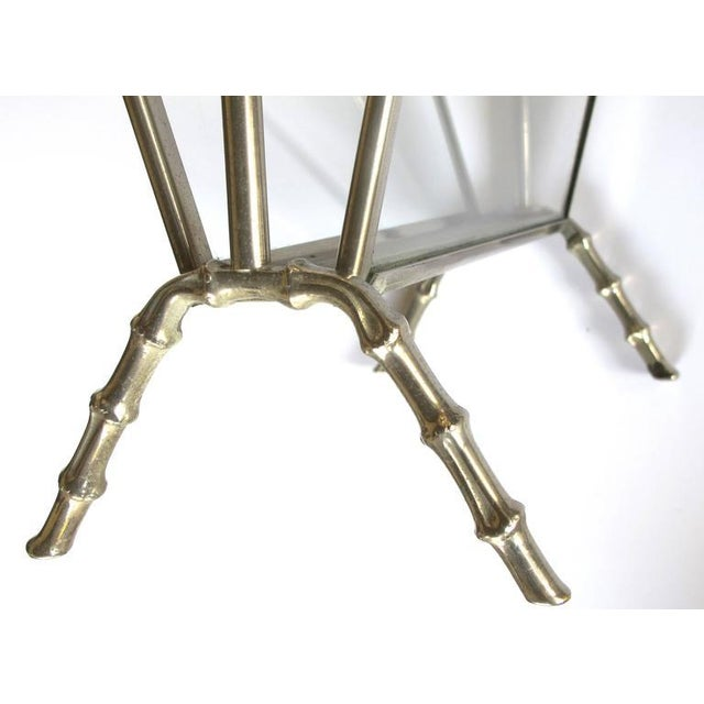 Maison Baguès Chic French Maison Bagues 1940s Chrome and Glass Faux Bamboo Magazine Rack For Sale - Image 4 of 5