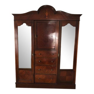 1900s Antique French Armoire With Mirror Doors For Sale