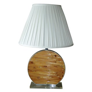 Chromalite Bamboo, Lucite & Chrome Table Lamp For Sale