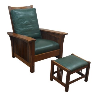 Stickley Oak Mission Morris Chair & Ottoman For Sale