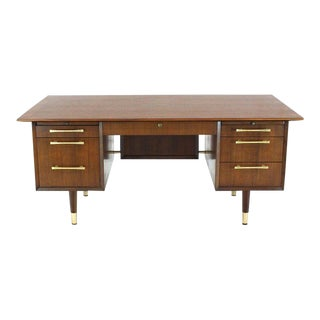 Caned Back Overhanging Floating Banded Top Large Brass Hardware Executive Desk For Sale