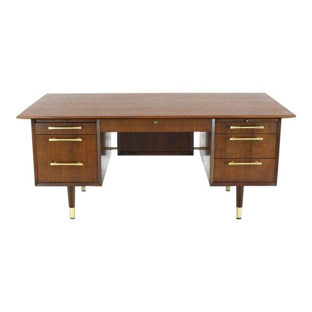 Caned Back Overhanging Floating Banded Top Large Brass Hardware Executive Desk For Sale