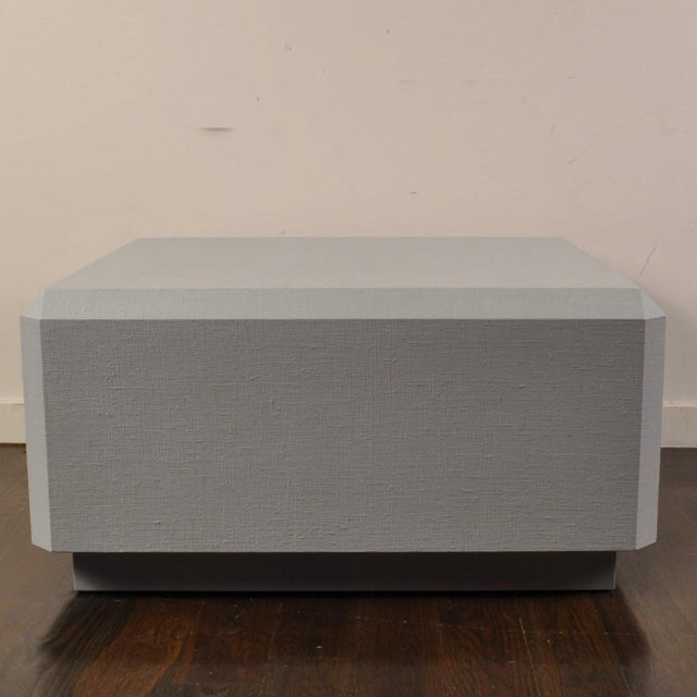 Mid-Century Modern Karl Springer Style Lacquered Grass Cloth Coffee Table For Sale - Image 3 of 8