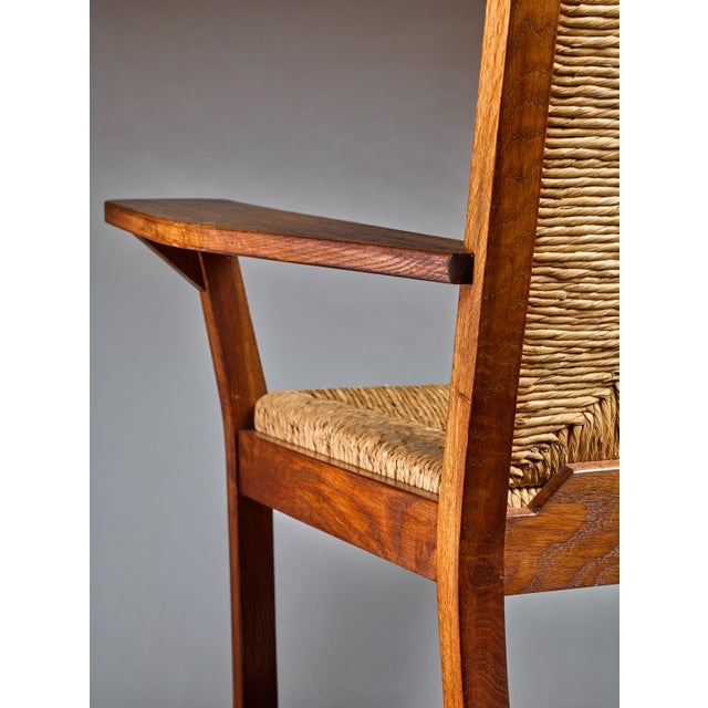 1920s Pair of Willi Ohler Chairs in Oak and Original Rush, Germany, 1920s For Sale - Image 5 of 5