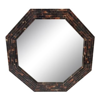 Tessellated Octaganal Horn Mirror For Sale