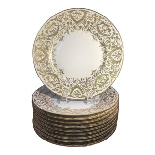 Austrian Gilt and Ivory Service Plates - Set of 10 For Sale