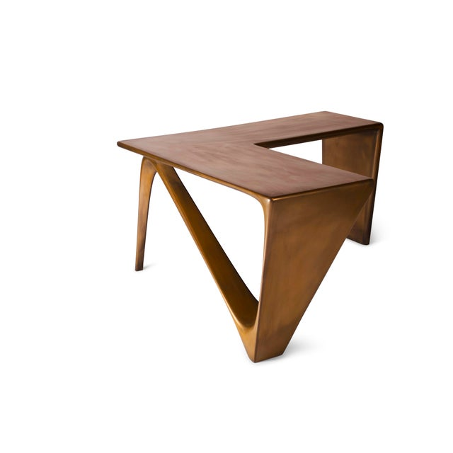 Amorph Amorph Astra Desk, L Shaped Desk Gold Finish For Sale - Image 4 of 8
