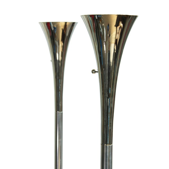 Laurel Chrome Torchiere Floor Lamps - A Pair For Sale - Image 9 of 10