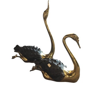 1970s Figurative Brass Swans Swimming Sculptures - a Pair For Sale