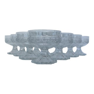 "Heisey Crystal Etched ""Greek Key"" Sherbet Dishes - Set of 10 For Sale"