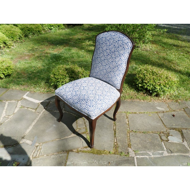 Louis XV Fruitwood Side Chair Covered in Fortuny For Sale - Image 13 of 13